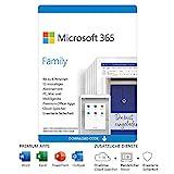 Microsoft 365 Family | 6 Nutzer | Mehrere PCs/Macs, Tablets und mobile Geräte | 1 Jahresabonnement |Download Code