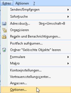 Microsoft Outlook 2007 Signatur erstellen Schritt 1