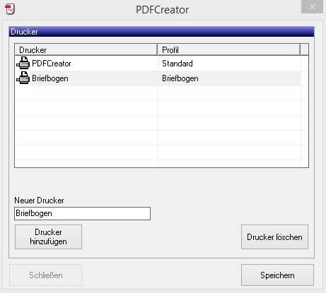 PDF-Creator Zusätzlicher Drucker