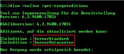 Windows Server Version ändern