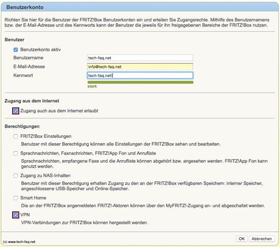 FritzBox VPN einrichten - Benutzerberechtigungen
