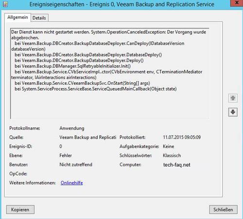 Veeam Backup Service startet nicht