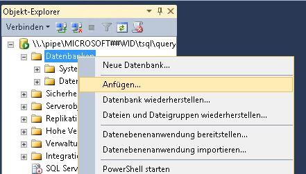 WSUS Datenbank anfuegen