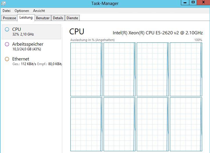 Task Manager angehalten - CPU Auslastung