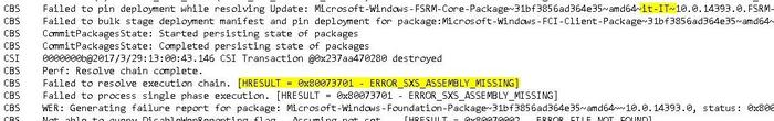 0x80073701 ERROR SXS ASSEMBLY MISSING