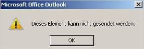 Dieses Element kann nicht gesendet werden - Outlook