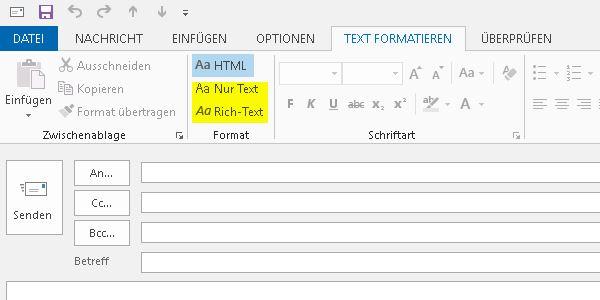 Dieses Element kann nicht gesendet werden - Outlook Text formatieren