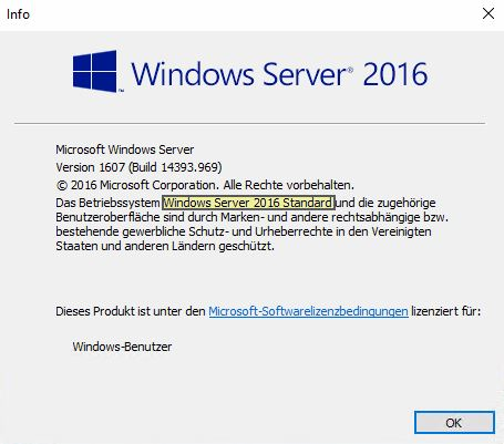 Windows Server 2016 umgewandelt von Evaluation zu Standard