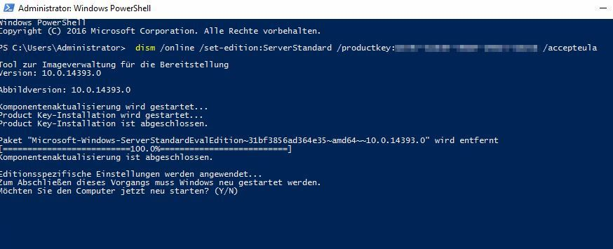 Windows Server Evaluation in Standard umwandeln