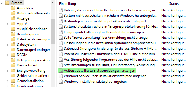 Ausführliche Windows Statusmeldungen anzeigen