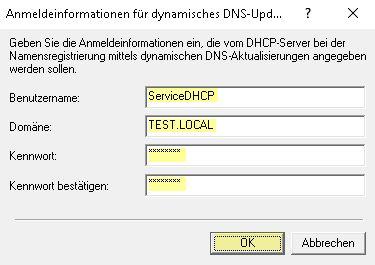 DHCP Anmeldeinformationen eintragen
