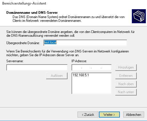 DHCP Server Installieren - DNS-Server