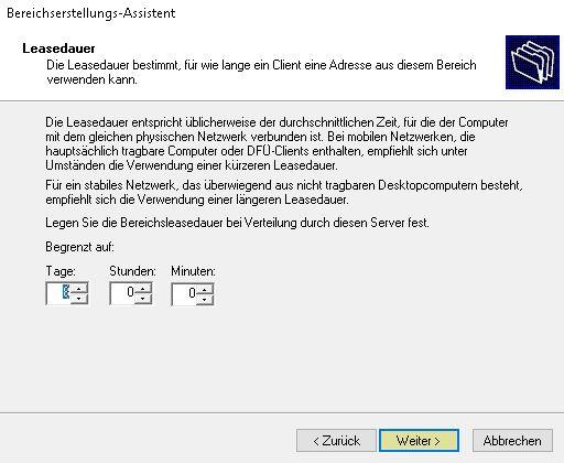 DHCP Server Konfigurieren - Leasedauer