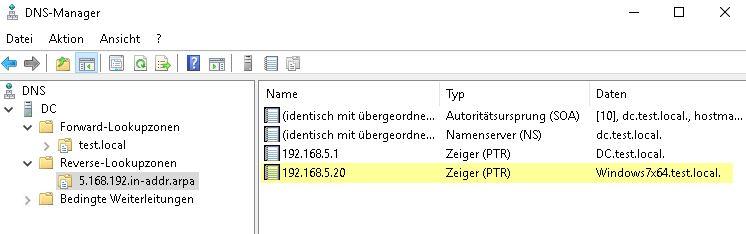 DHCP Server einrichten - Kontrolle DNS-Server