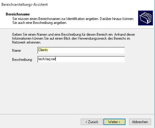 DHCP Server einrichten - Bereichname