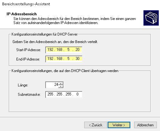 DHCP einrichten IP-Adressbereich