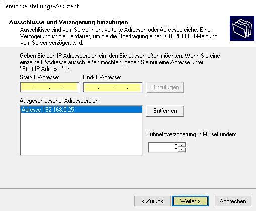 DHCP Server konfigurieren - IP-Ausschlüsse