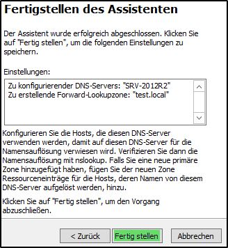 DNS Server einrichten - Fertigstellen des Assitenten