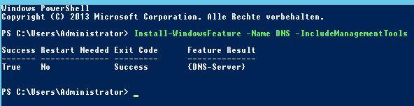 DNS Server installieren per Powershell
