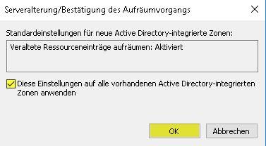 DNS-Server konfigurieren - Alterung aktivieren