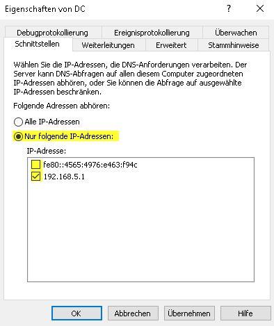 DNS Server konfigurieren IP Schnittstellen