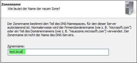 DNS Server konfigurieren - Zonenname
