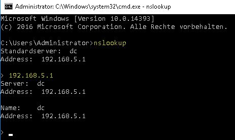 DNS-Server konfigurieren - nslookup