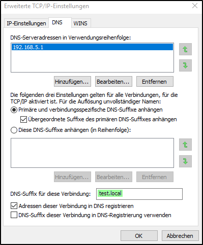 DNS-Suffix anhängen | DNS-Server einrichten
