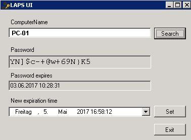 LAPS UI - Administratorkennwort ändern