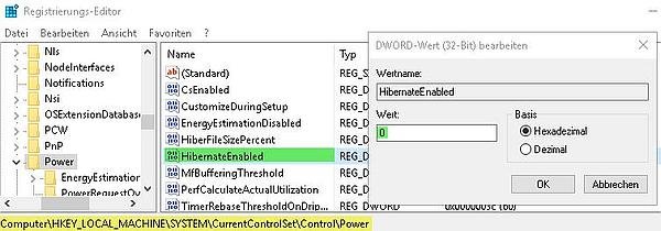 Schnellstart bei Windows 10 deaktivieren per Registry