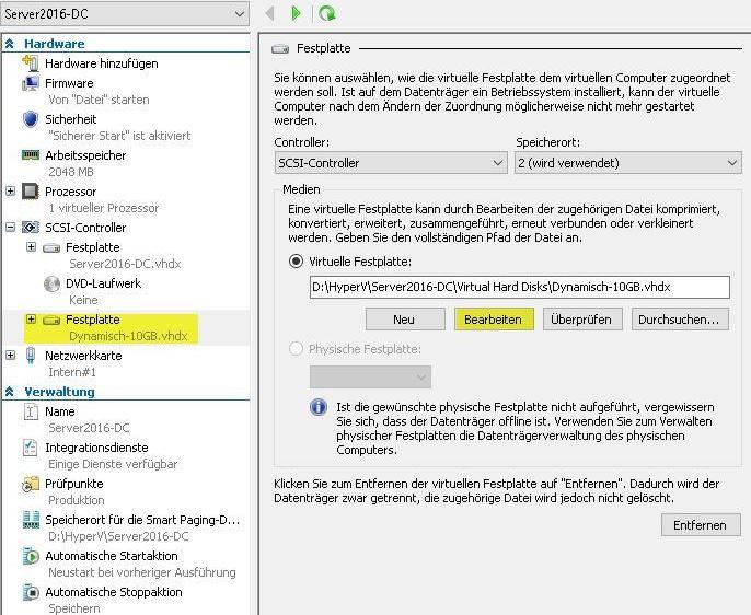 VHD komprimieren mit Hyper-V Manager