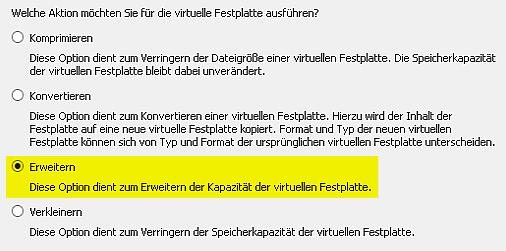 Virtuelle Festplatte vergrößern