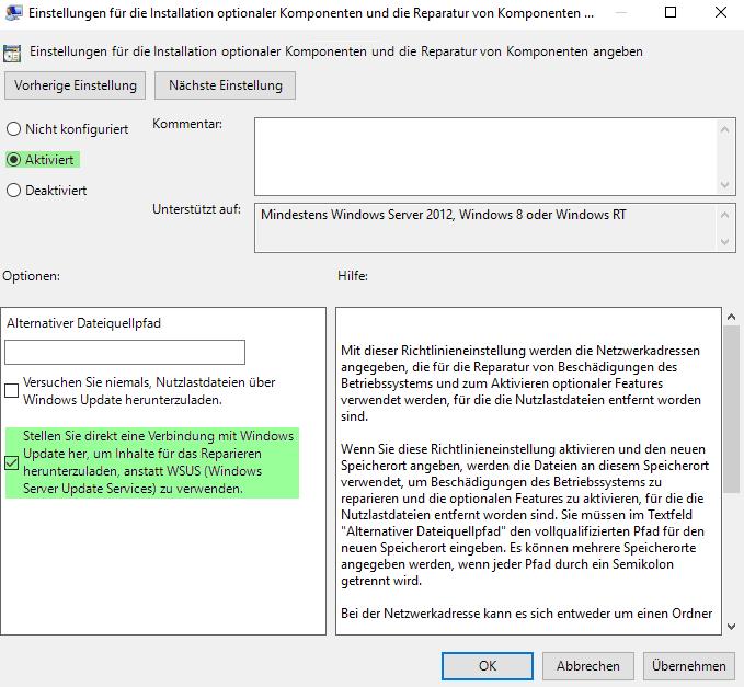 .NET 3.5 installieren - Setzen der Gruppenrichtlinie