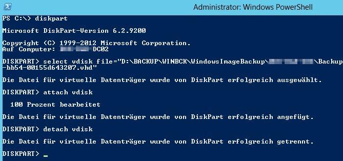 VHD Datei öffnen