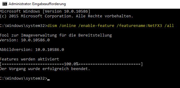 .Net 3.5 installieren mit DISM