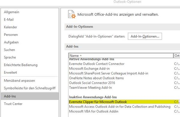 Outlook AddIns dauerhaft aktivieren