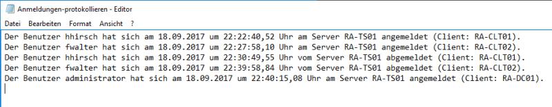 Abmeldungen am Terminalserver protokollieren