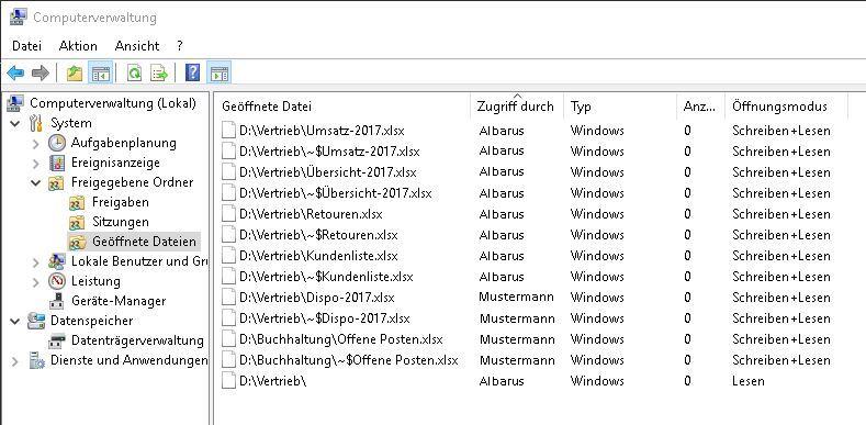 Geöffnete Dateien anzeigen in Server 2016