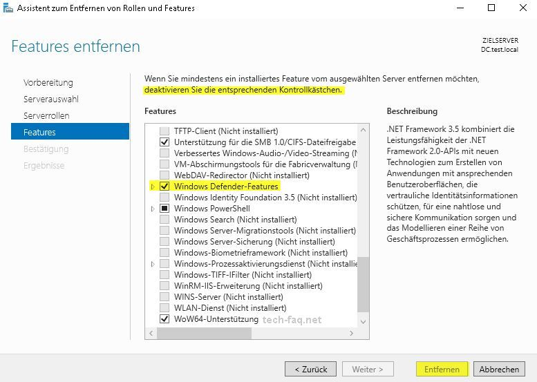 Windows Defender deinstallieren auf Windows Server 2016