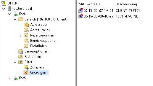DHCP Filter Verweigern von MAC Adressen