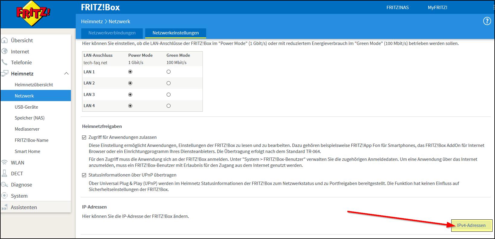 FritzBox IP-Adresse ändern