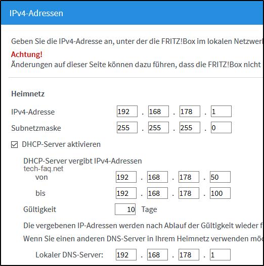 IP-Adresse der FritzBox wechseln