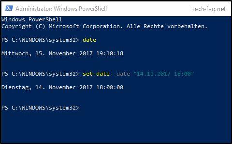 Windows Datum ändern per PowerShell