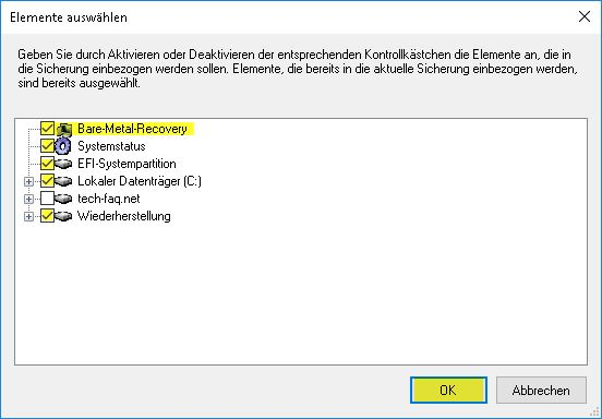 Windows Server Sicherung - Elemente auswählen