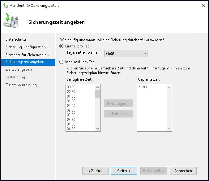 Windows Server Sicherung - Zeitplan