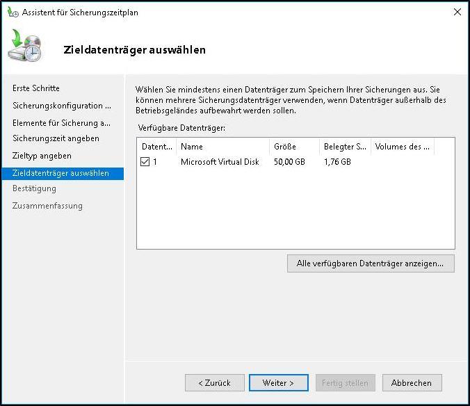 Windows Server Sicherung - Ziel definieren