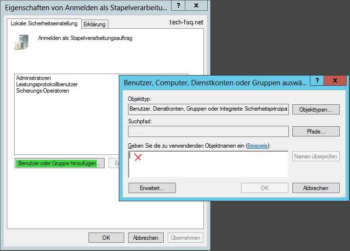 Anmelden als Stapelverarbeitungsauftrag - Benutzer hinzufügen