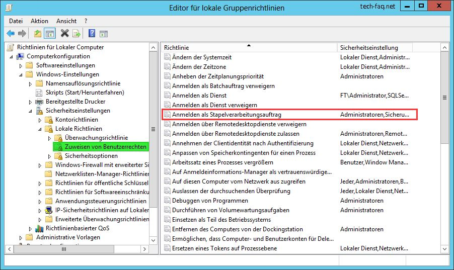 Anmelden als Stapelverarbeitungsauftrag - Gruppenrichtlinie