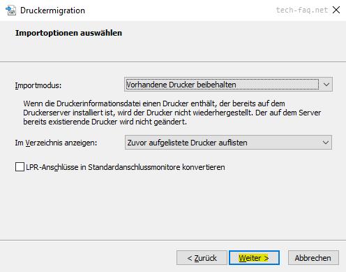 Printserver migrieren Druckverwaltung