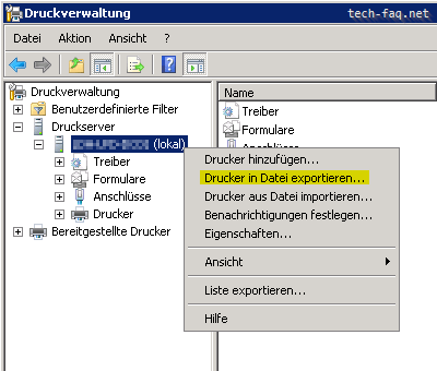 Windows Server Drucker migrieren exportieren